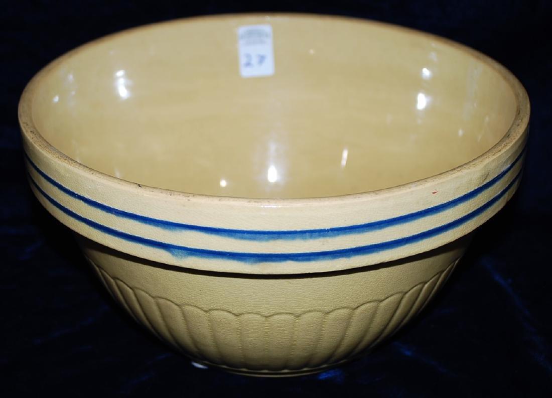 Red Wing Saffron Yellow Ware Panel Bowl 2 Cobalt Rings