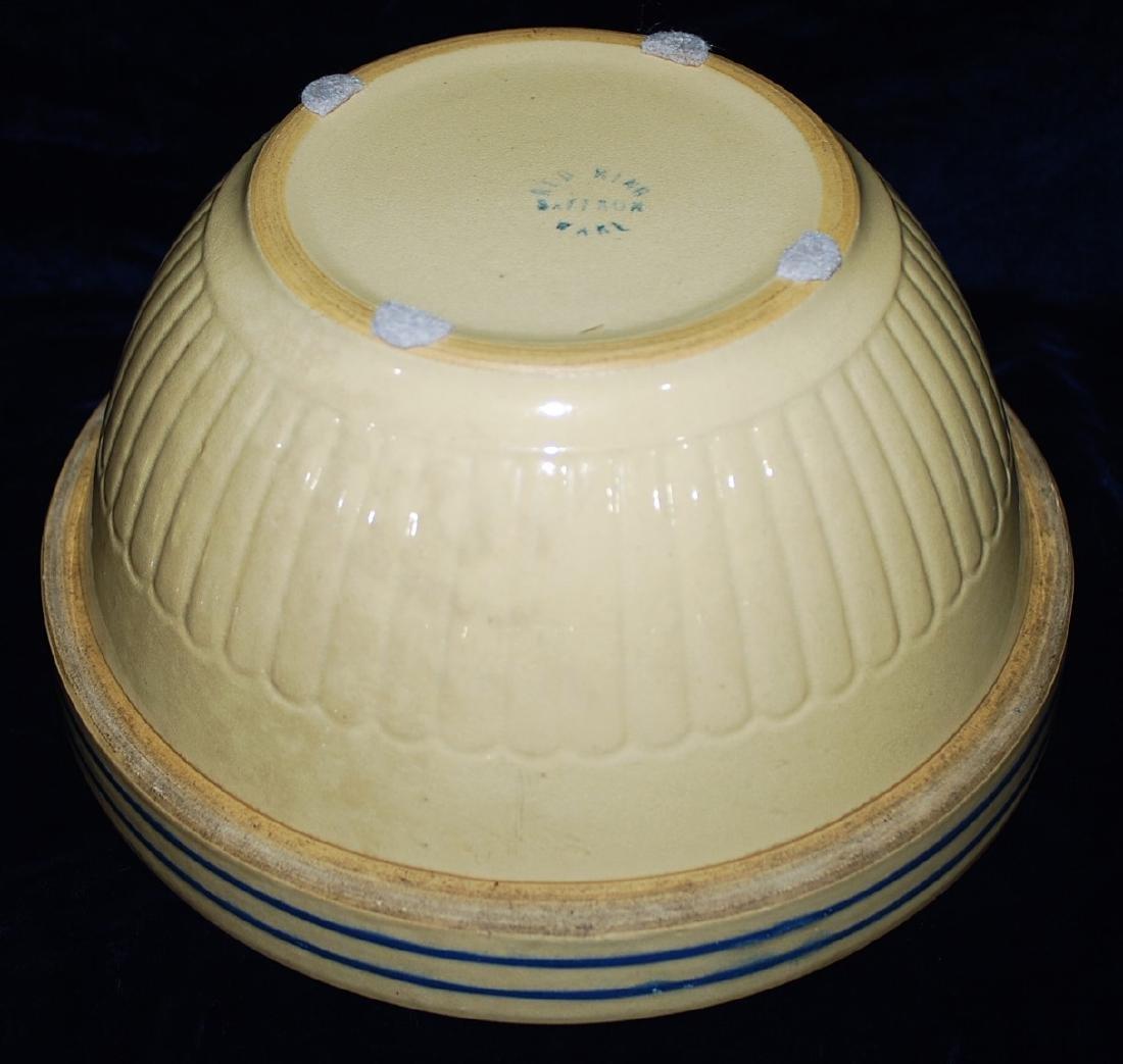 Red Wing Saffron Yellow Ware Panel Bowl 2 Cobalt Rings - 3
