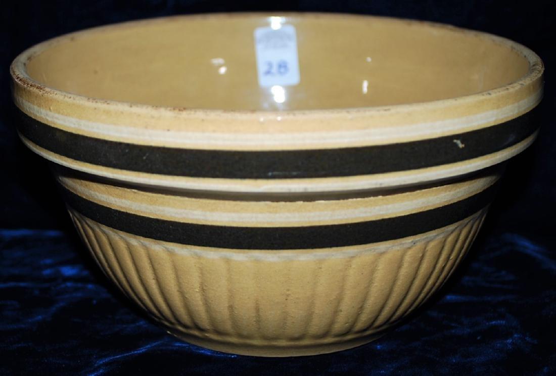 Yellow Ware Panel Bowl w/ upper & lower DK Brown Rings