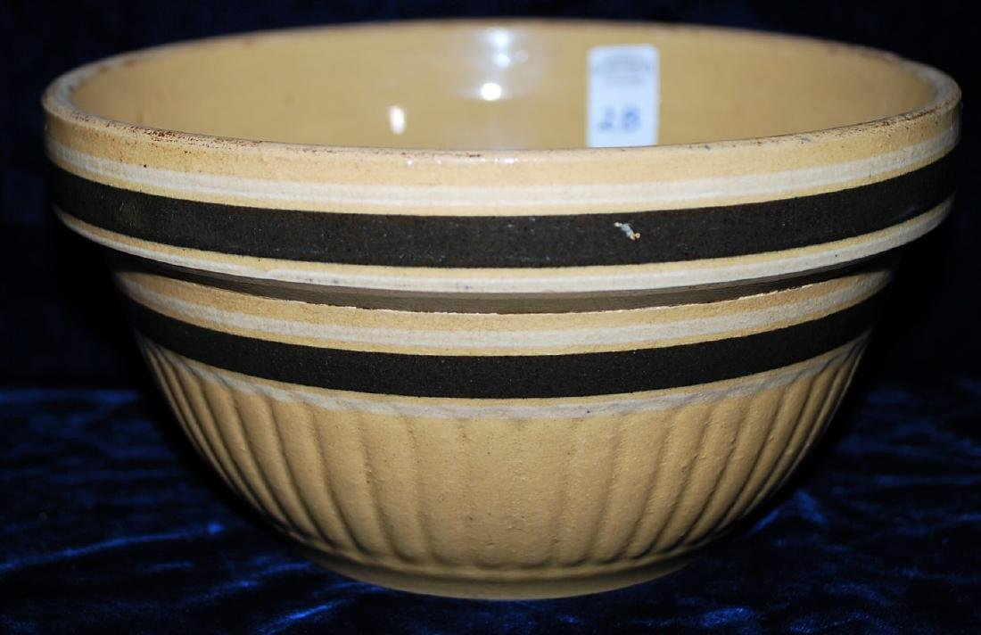 Yellow Ware Panel Bowl w/ upper & lower DK Brown Rings - 3