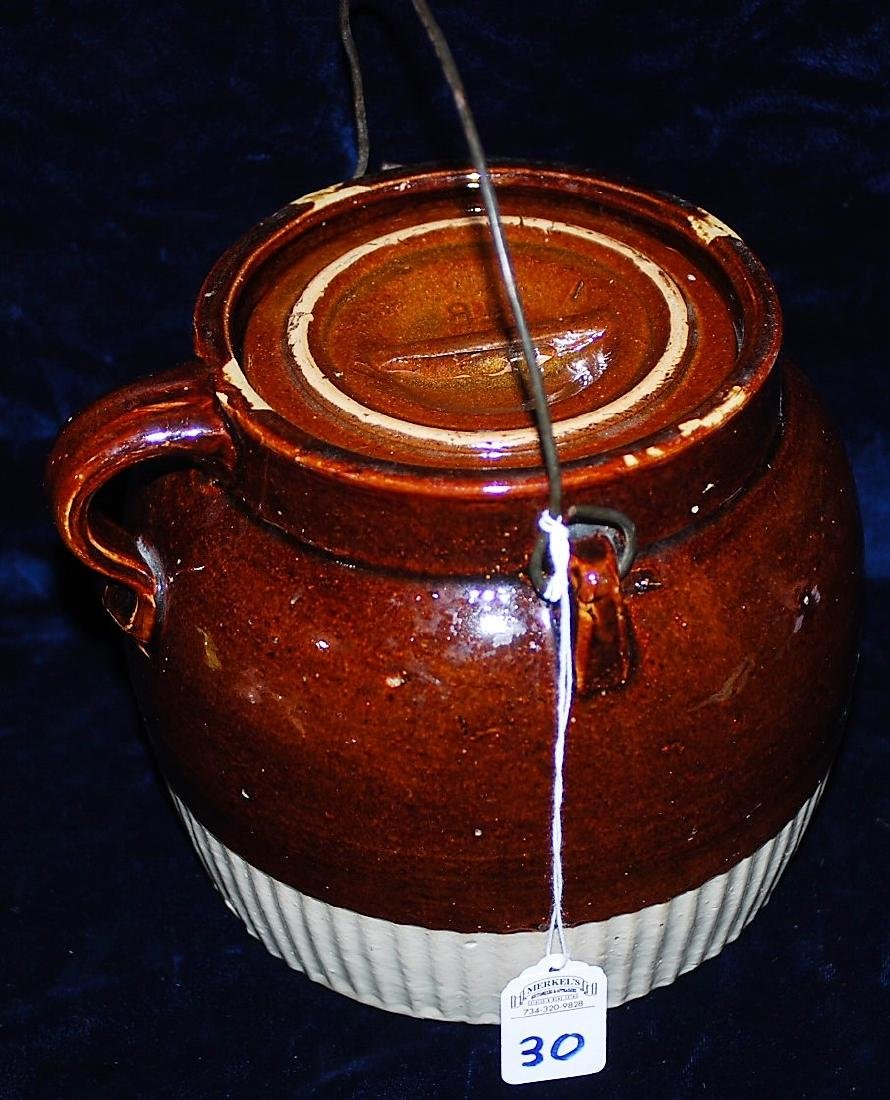 Red Wing Handled Bean Pot w/ lid.