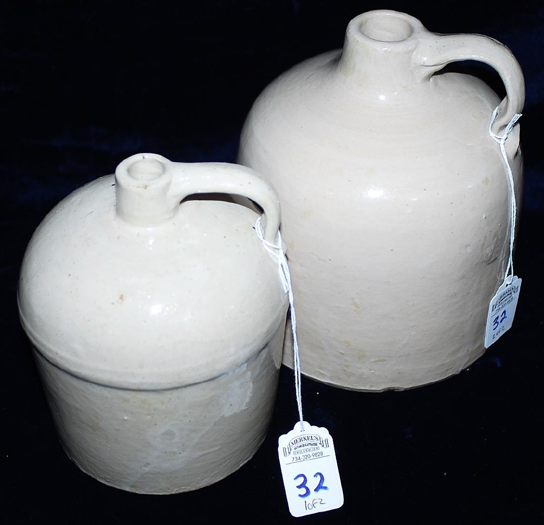 Lot of 2 Beehive Form White Glazed Red Wing Jugs.