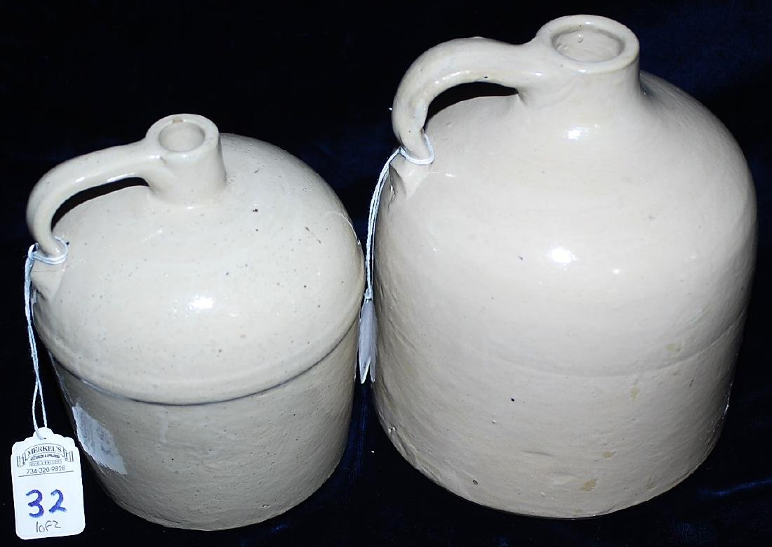 Lot of 2 Beehive Form White Glazed Red Wing Jugs. - 3