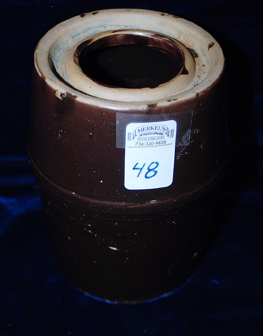 Red Wing marked brown slip wax seal canning jar
