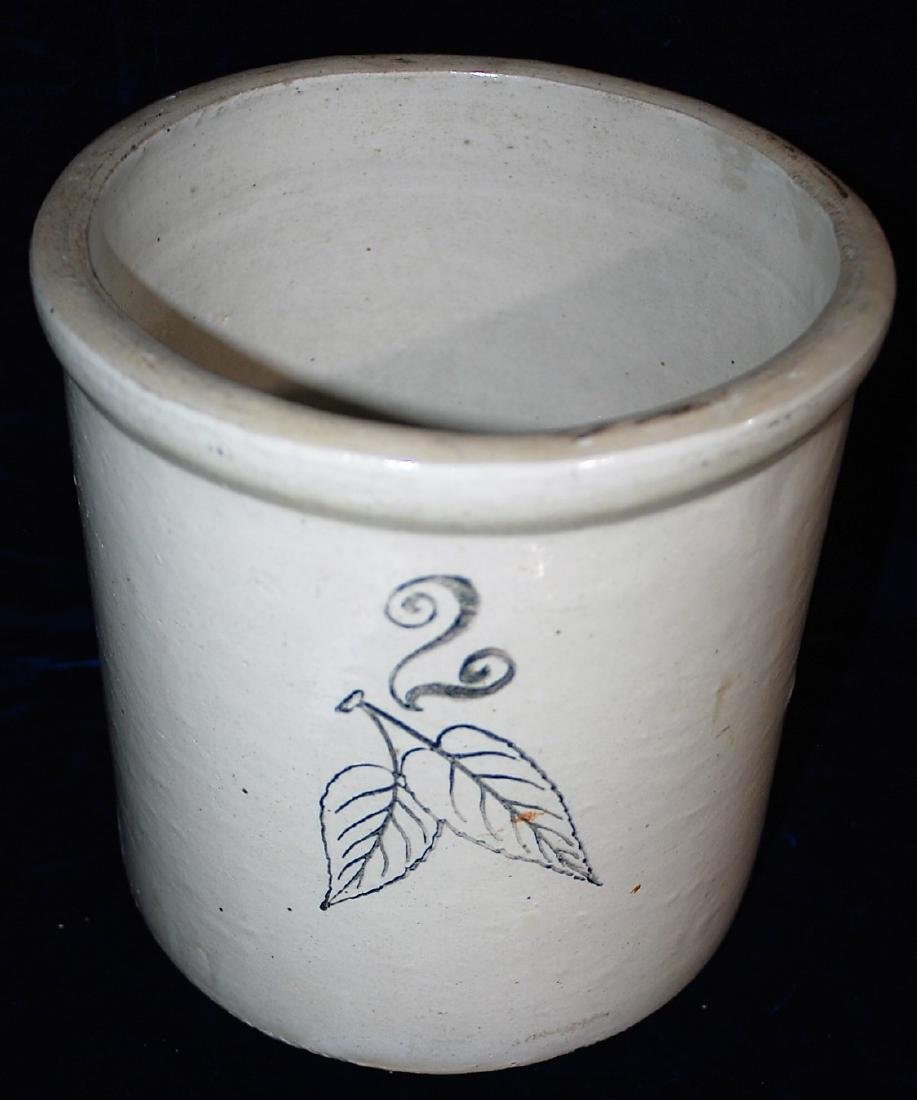 Red Wing black stenciled two gallon birch leaf crock.