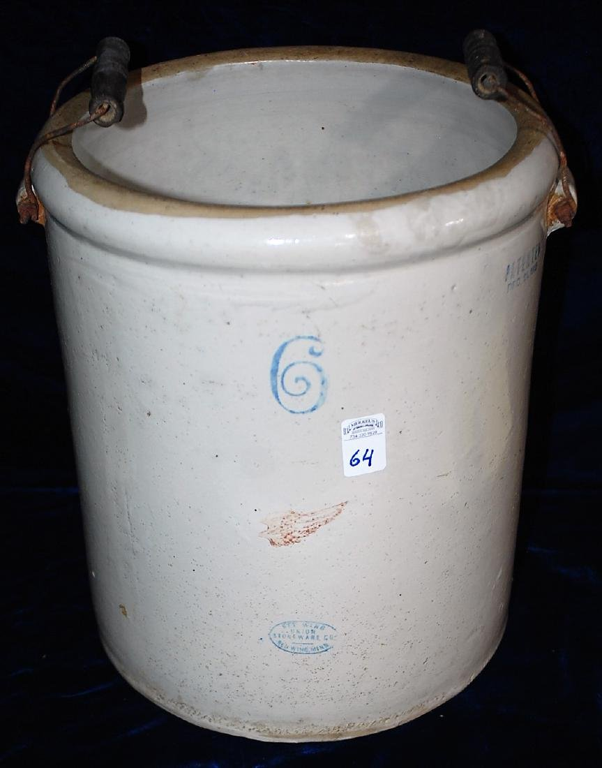 Red Wing 6 gallon handled crock. Patented Dec 21 1915