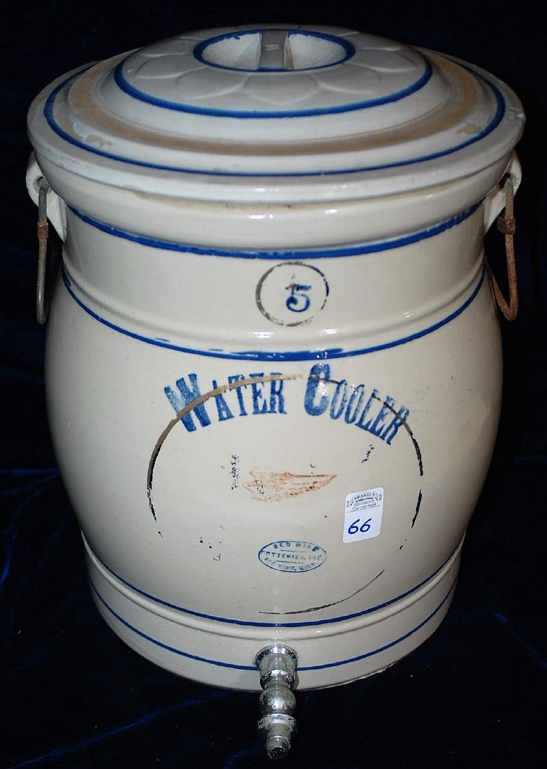 Red Wing five gallon water cooler w/ a blue stenciled 5
