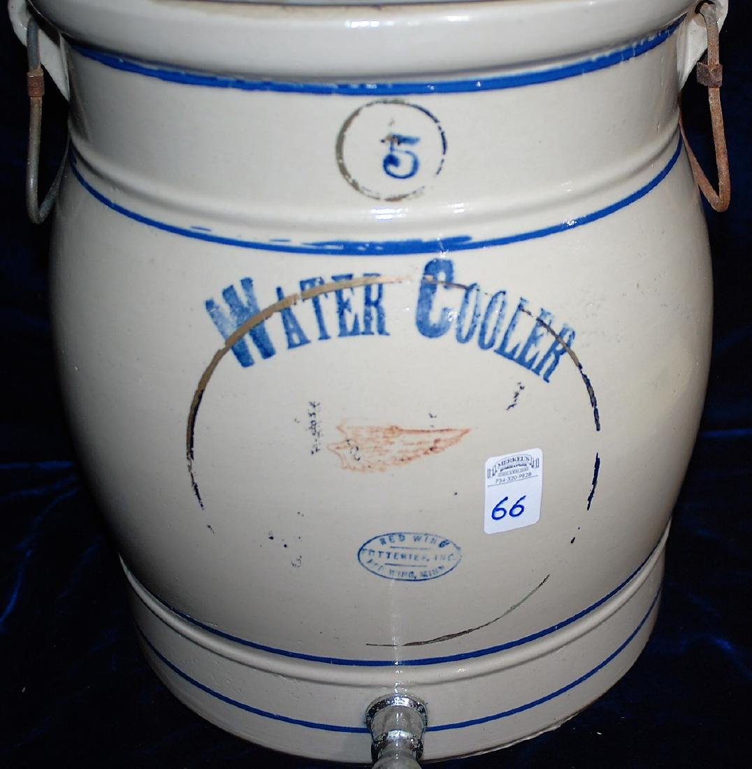 Red Wing five gallon water cooler w/ a blue stenciled 5 - 3