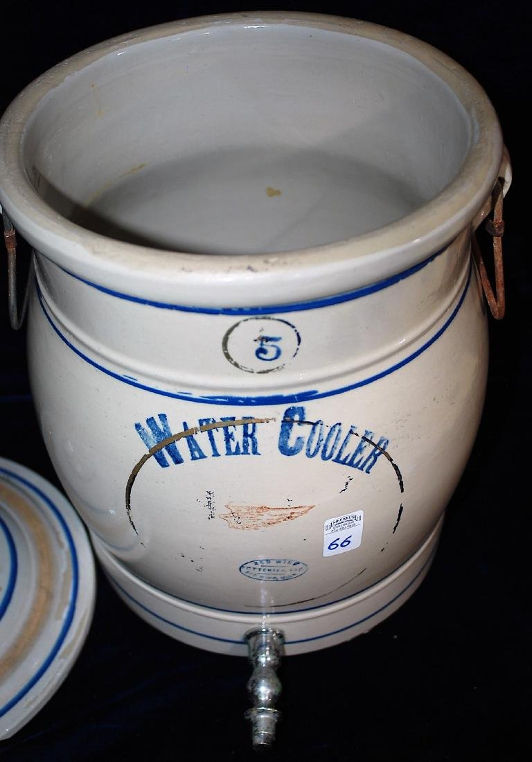 Red Wing five gallon water cooler w/ a blue stenciled 5 - 6