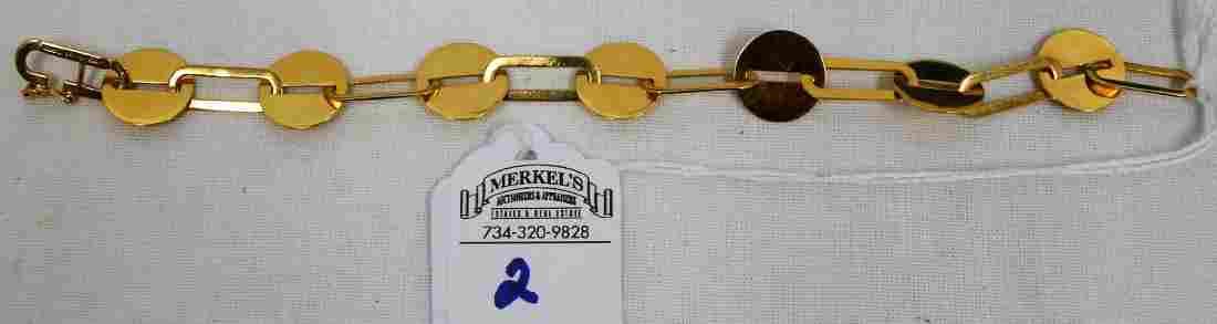 14Kt. Solid Gold 7 in. Artist Engraved Bracelet marked