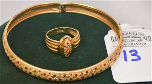 Lot of 2 Pieces 14Kt SLC Makers Mark Bangle 7 in