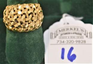 14Kt Solid Yellow Gold Size 5 Domed Diamond Cut Ring