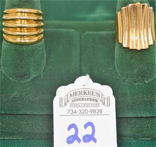 Lot of 2 Yellow Gold Ribbed Bands