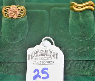 Lot of 3 Rings 2 Size 6 marked 18Kt ITALY