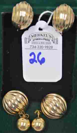 Lot of 3 Pairs Gold Earrings
