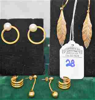 Lot of 4 Pairs Gold Earrings