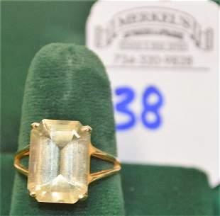 14Kt Yellow Gold Artisan Marked Emerald Cut Prasiolite