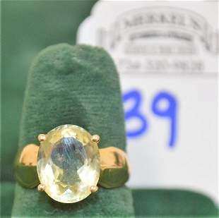 14Kt Yellow Gold Stamped CID 14K Oval Cut Prasiolite