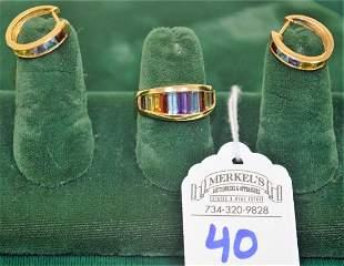Set Ring Earrings 10Kt Yellow Gold