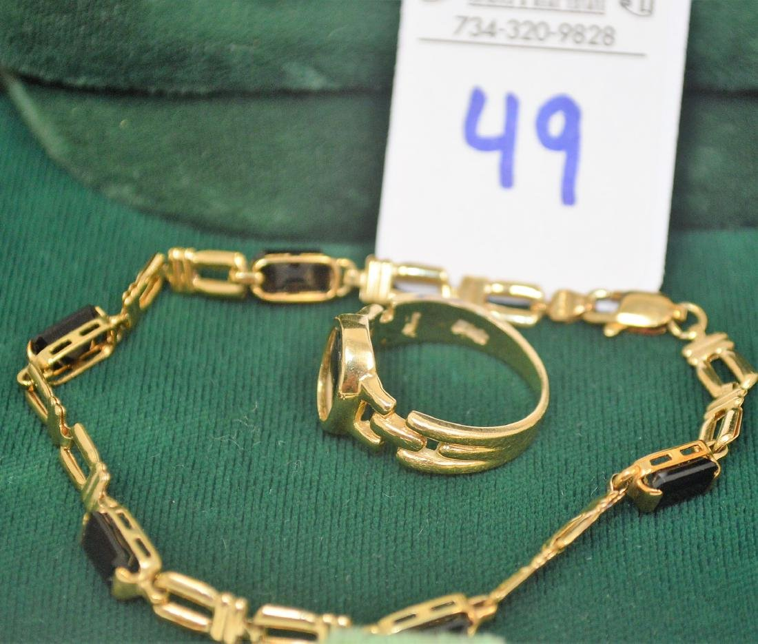 Lot of two 14k yellow gold and onyx pieces - 3