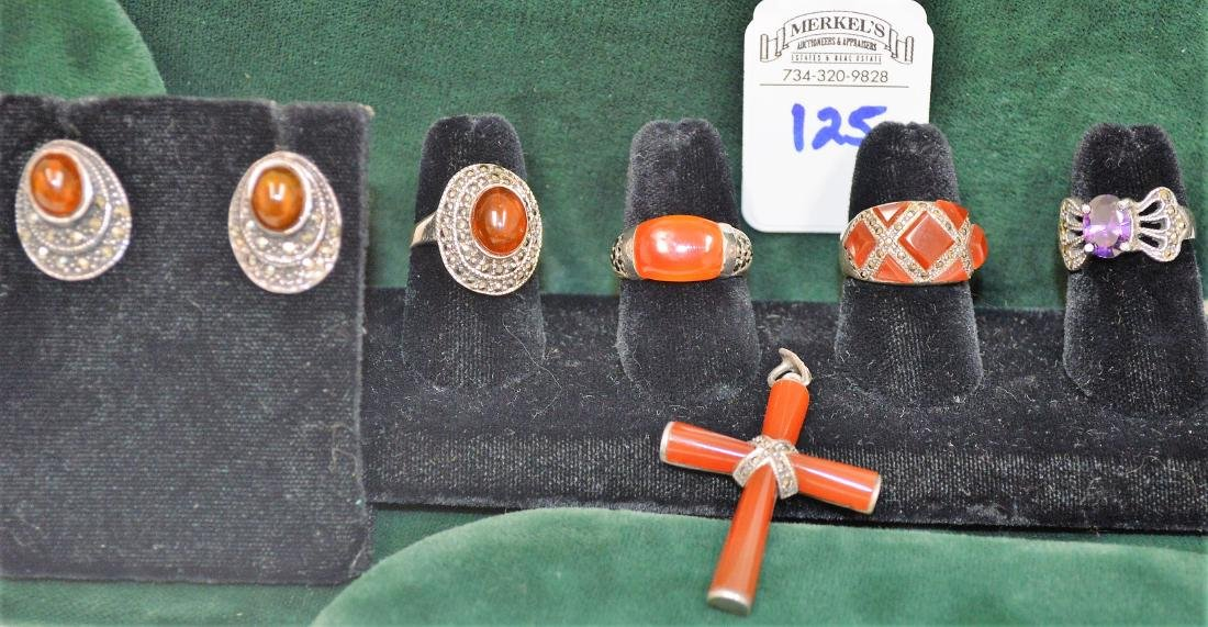 Lot of 6 Carnelian pieces on sterling & Amethyst ring