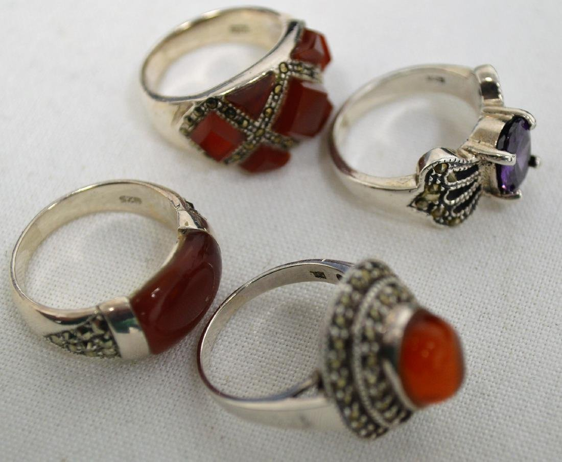 Lot of 6 Carnelian pieces on sterling & Amethyst ring - 8