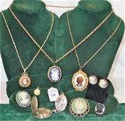 Large lot of 11 Vintage Costume Broaches & necklaces