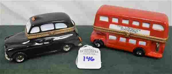 Limoges France Boxes Lot of 2 London pieces Bus & Taxi