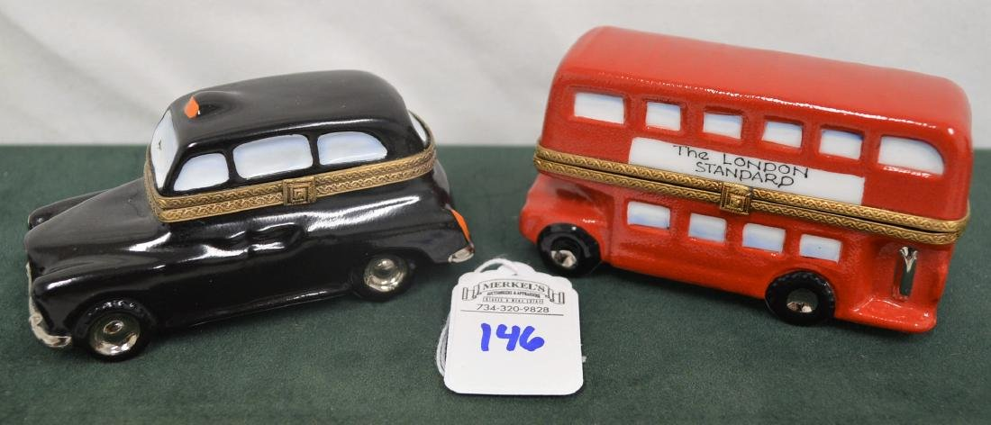 Limoges France Boxes Lot of 2 London pieces Bus & Taxi