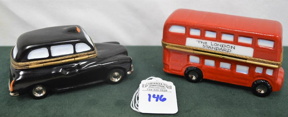 Limoges France Boxes Lot of 2 London pieces Bus & Taxi - 2