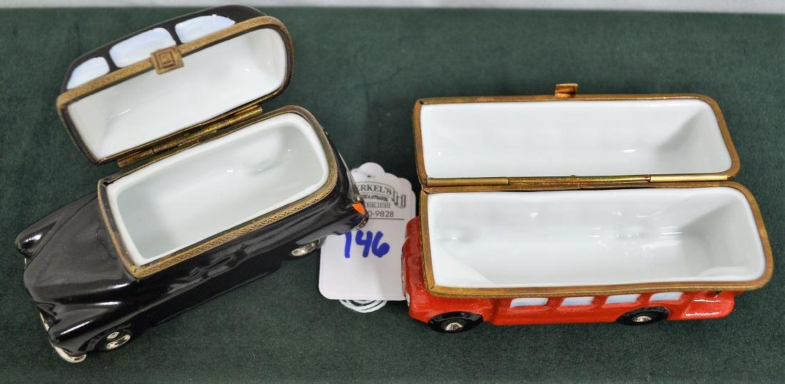 Limoges France Boxes Lot of 2 London pieces Bus & Taxi - 3