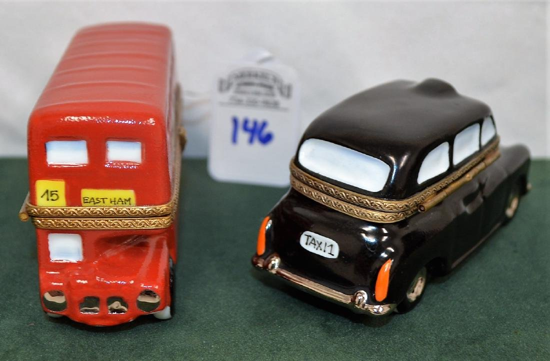 Limoges France Boxes Lot of 2 London pieces Bus & Taxi - 5