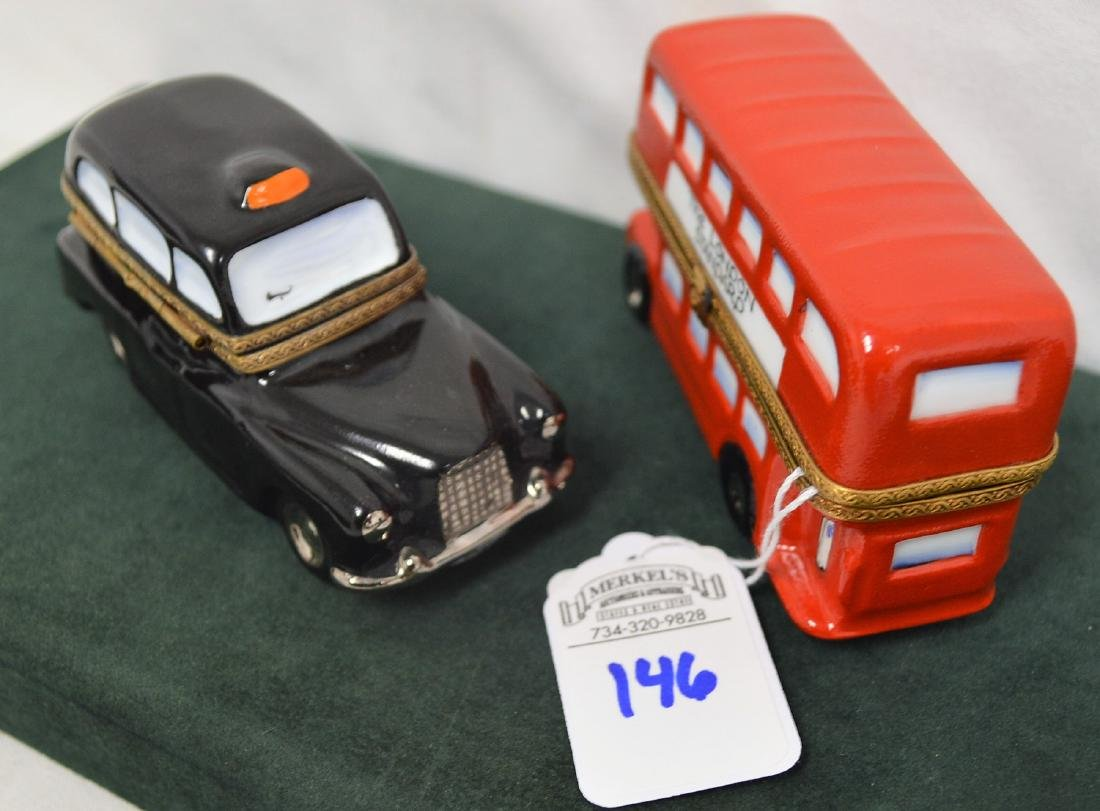 Limoges France Boxes Lot of 2 London pieces Bus & Taxi - 6