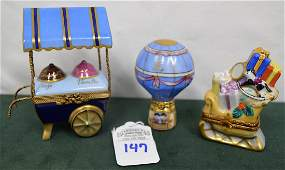 Limoges France Boxes Lot of 3: Balloon, Sleigh, & Cart
