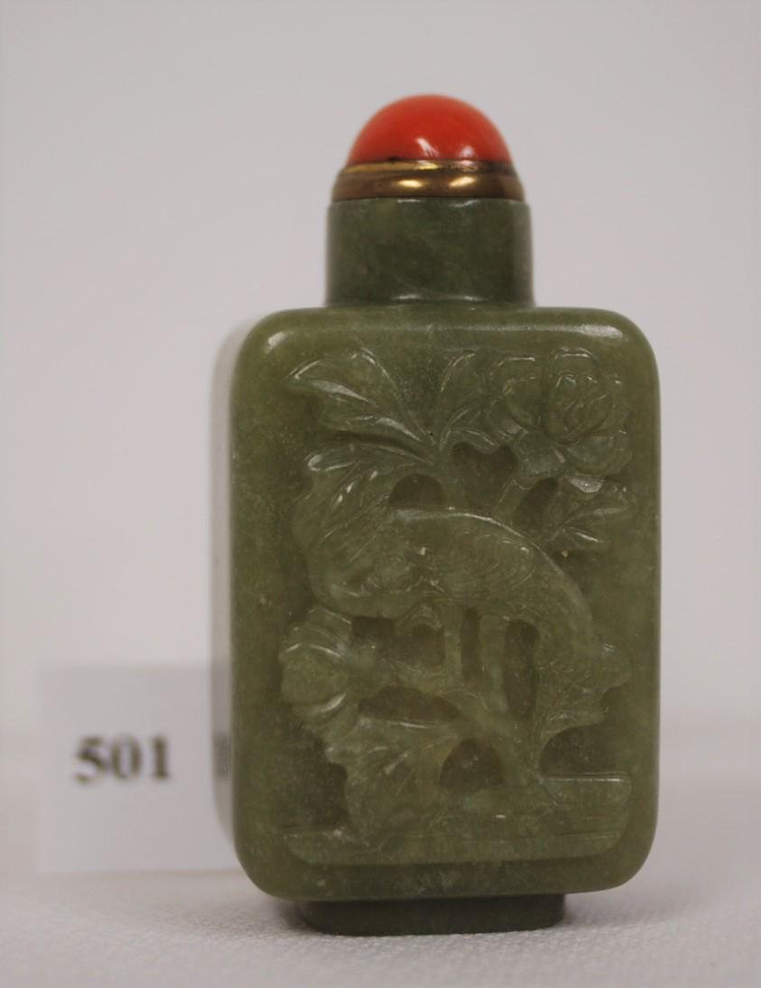 Green Nephrite Jade Snuff Bottle Circa 1800-1860