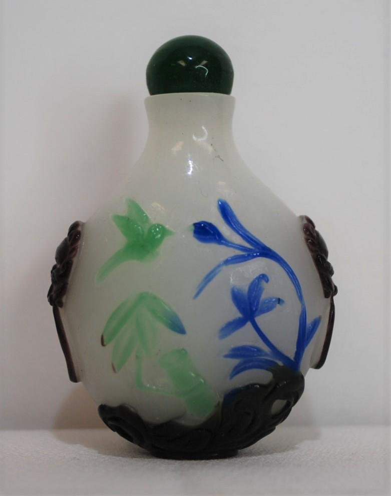 Chinese Snuff Bottle White with Multiply Color Overlay