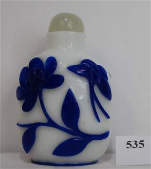 Antique White Glass with Blue Floral Overlay Snuff