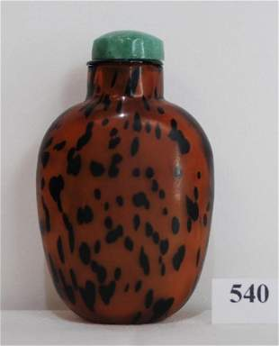 19th Century Chinese Brown Leopard Glass Snuff Bottle