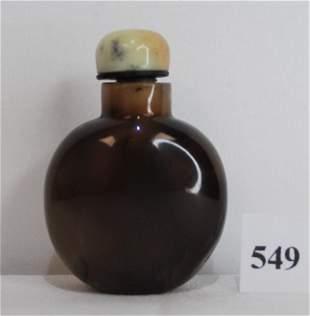 19th Century Agate Chinese Snuff Bottle Dark Brown