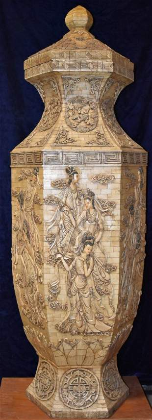 Large Chinese Carved Mosaic Urn Covered 59 inches Tall