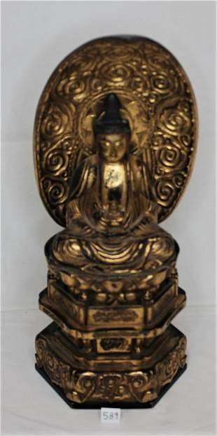Japanese Gold Lacquered Deity Wooden Carved Figure on