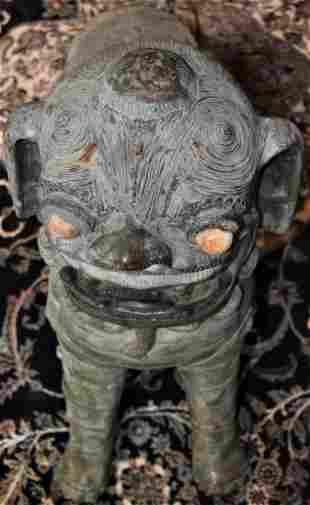 1 Large Chinese Foo Dog Figure Bronze w Green Finish