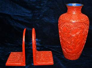 Asian cinnabar lot of a 9 in Vase a pair of book
