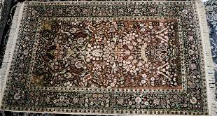 Silk Kashmir Keshan Prayer Rug 4 x 6 ft Flowers Birds