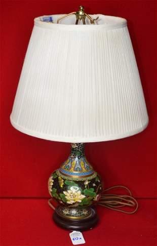 Japanese Cloisonne Lamp Vase w Custom Shade