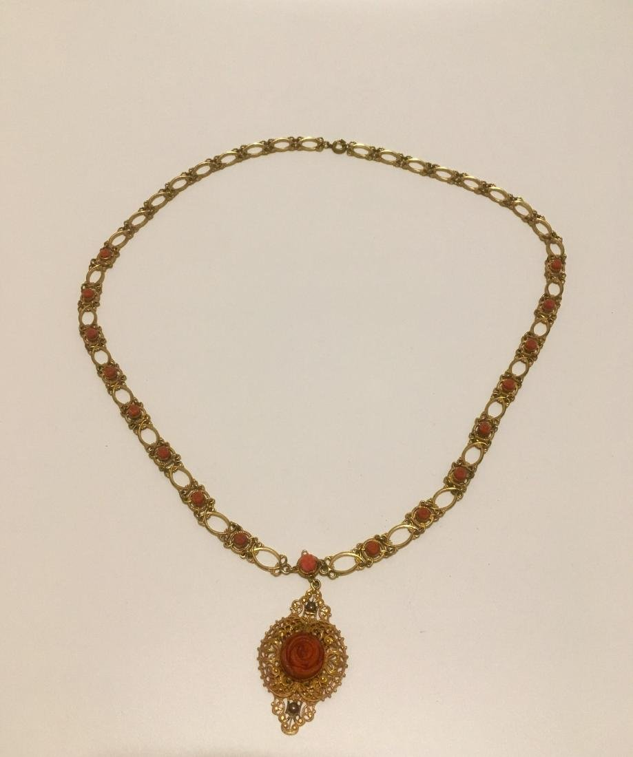 European gilt and coral rose necklace