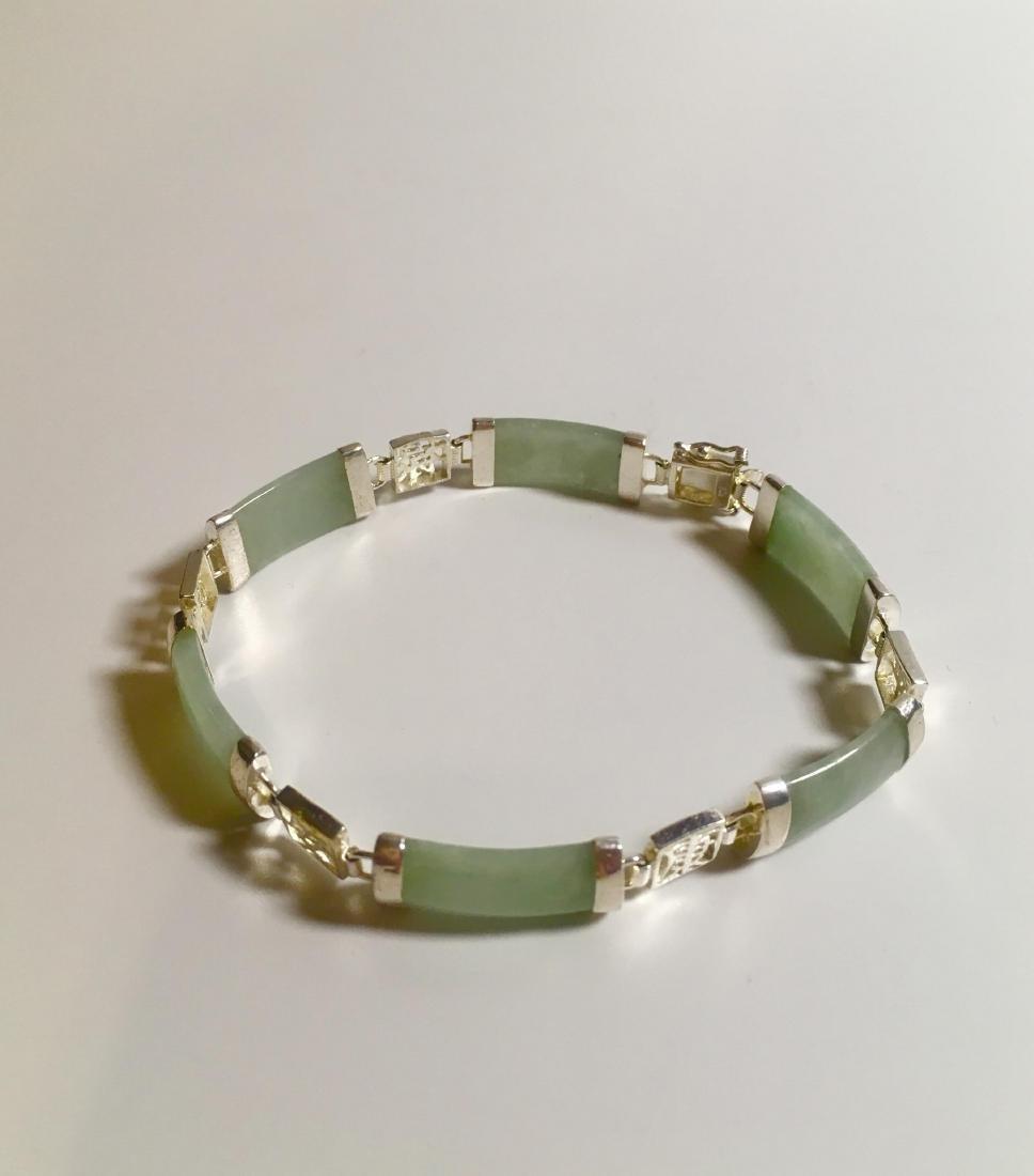 vintage Chinese Green silver Jadeite bracelet