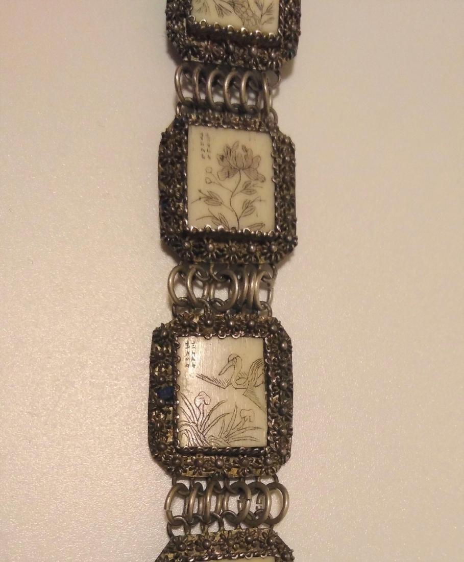 Antique Asian Chinese silver carved Bracelet Scrimshaw