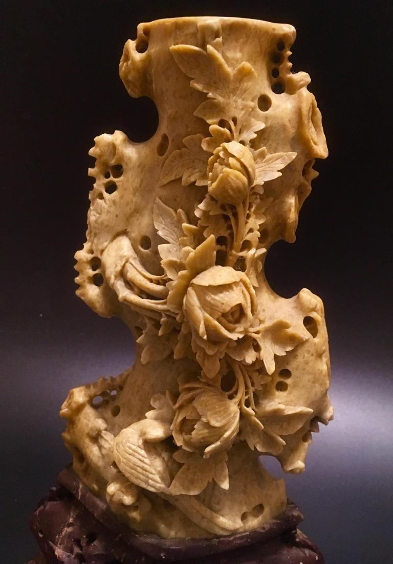 Vintage Chinese republic Hand Carved Soapstone Vase