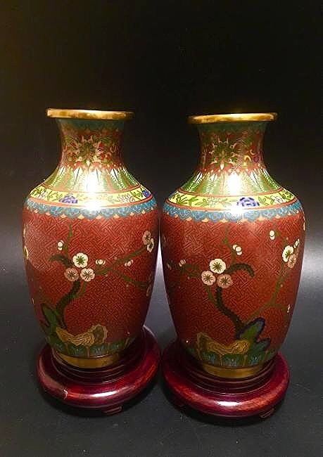 Late Qing Dynasty chinese pair of cloisonne red vases